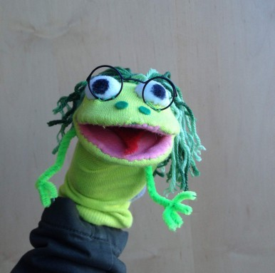A Surry Sock Puppet Froggie from Frog Hollow